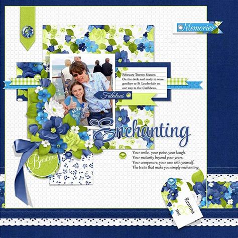scrapbook layout with lots of pictures digital scrapbooking floral layout idea