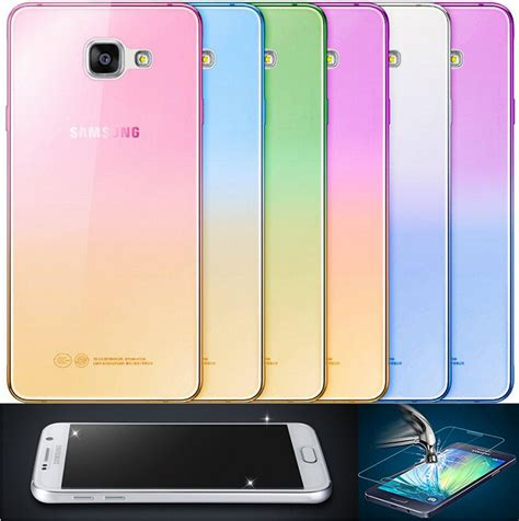 Tpu 360 Samsung Galaxy S7 Protection Free Tempered Glass fashion soft tpu gradient color back cover tempered