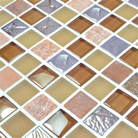 Peel And Stick Backsplash Tiles Glass Stone Mosaic Tiles Yellow Glass Mix Stone Mosaic