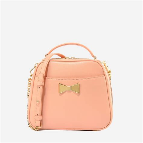 Tas Charles Keith Set Pouch Pink bow detail crossbody bag pink handbag bags charles keith bags pink