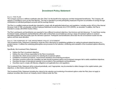 Investment Policy Statement Foundation Investment Policy Statement Template