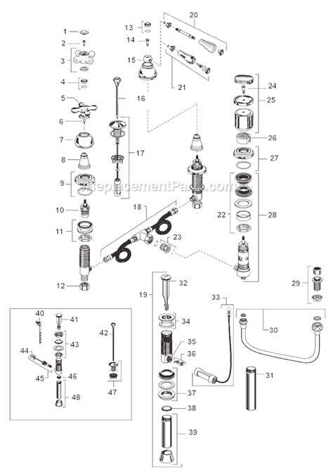 American Standard Bidet Faucet Parts by American Standard 7391 733 Parts List And Diagram