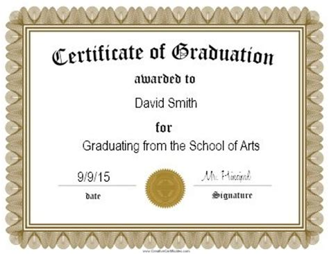 templates for graduation certificates customized graduation certificate