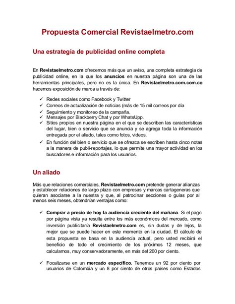 carta tipo propuesta comercial propuesta comercial revista metro