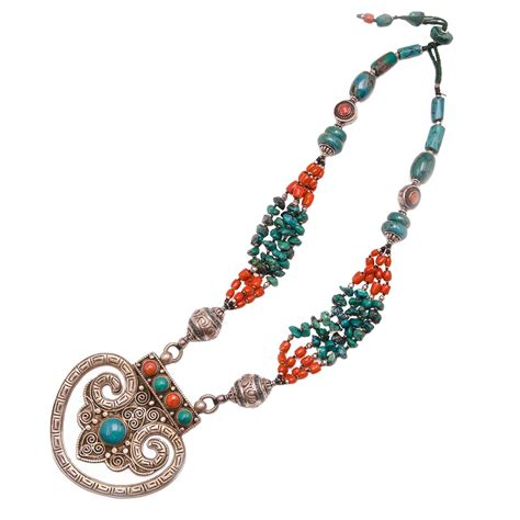 Handcrafted Turquoise Jewelry - tibetan medallion turquoise coral sterling silver necklace