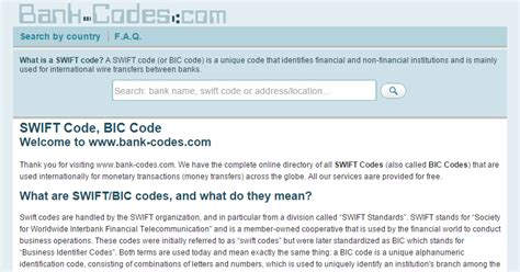 does every bank a code code bic code