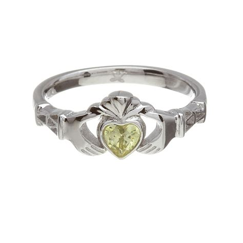 14k white gold claddagh august birthstone ring fallers