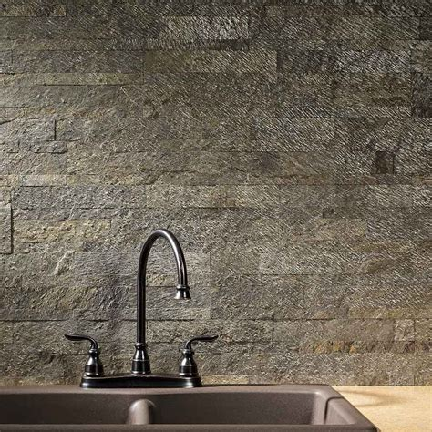 peel and stick backsplash tile with classy cheap peel and aspect backsplash stone tile in mossy quartz