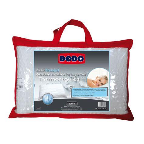 oreillers dodo dodo oreiller m 233 moire de forme mousse aquagel 60 x 60 cm