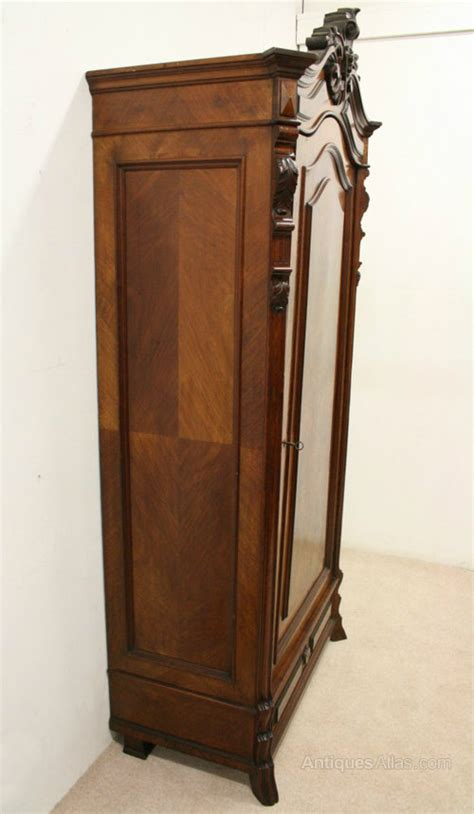 Single Door Armoire Wardrobe by Continental Walnut Single Door Armoire Wardrobe Antiques
