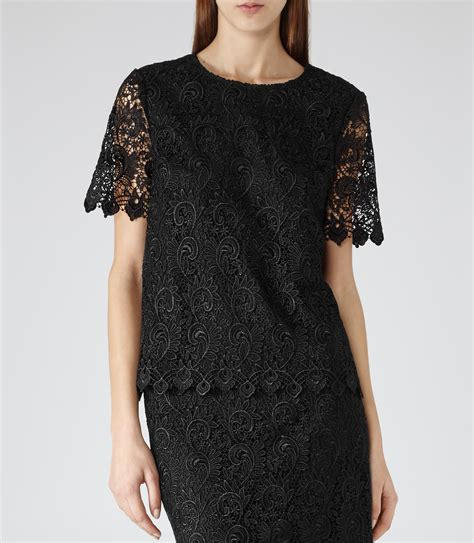 Top Orange Black Lace Fit Size S garda black lace overlay top reiss