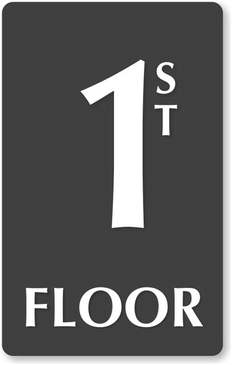 Sign Floor 1st floor engraved sign