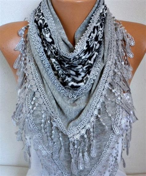 Knitted Wedding Gift Ideas by Gray Knitted Scarf Shawl Cowl Lace Bridesmaid Bridal