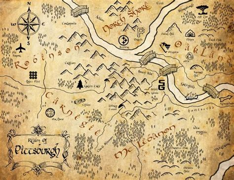 lord of the rings maps pittsburgh in the style of a lord of the rings map