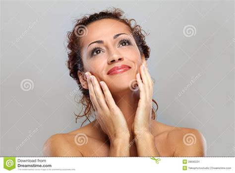 beautiful middle aged woman beautiful natural middle aged woman stock image image