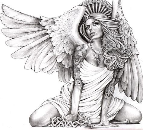 crying angel by mouse lopez tattooed woman canvas art