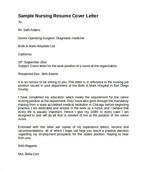 Resume Cover Letter Nursing by Sle Nursing Cover Letter Template 8 Free Documents In Pdf Word