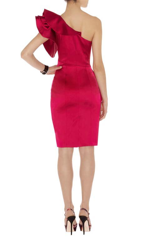 Satin Ruffles Dress lyst millen satin ruffle dress in purple