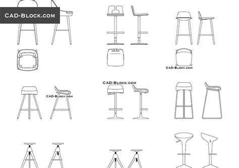 bar stool  cad drawings   template bar stools cad blocks bar interior design