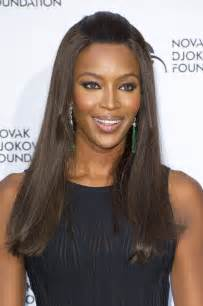 Naomi campbell keeps it classy with a half updo celebrity hair