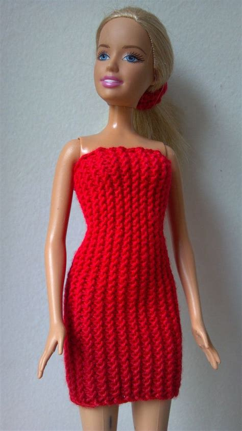 knitting pattern barbie clothes knitted red stretchy dress for barbie by momdaughtercraft