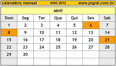 Calendario Abril 2012 Calend 225 Mensal Abril De 2012 Imprimir M 234 S De Abril 2012