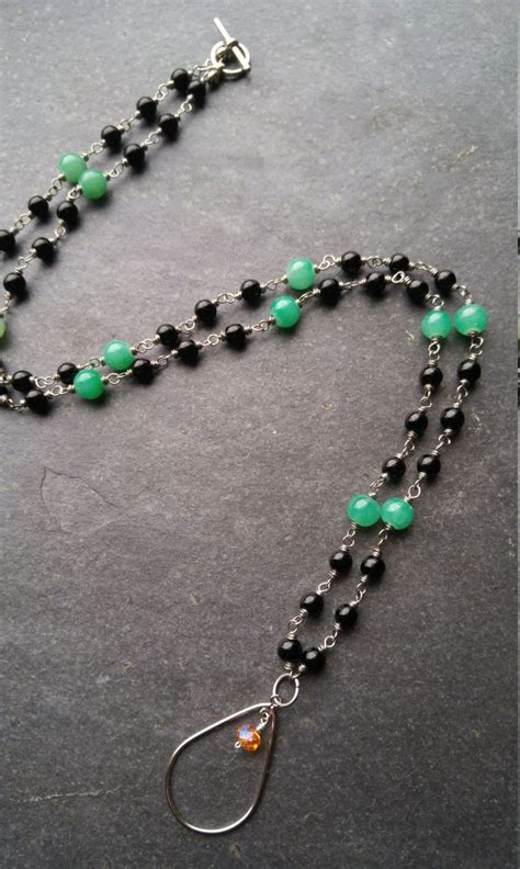 how to make a beaded lanyard necklace black and green beaded lanyard id badge holder wire