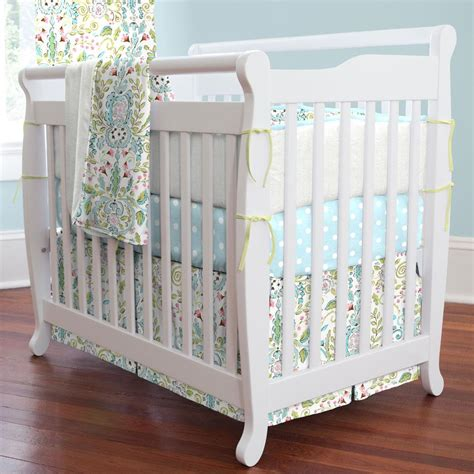 Bird Crib Bedding Bird Damask Mini Crib Skirt Box Pleat Carousel Designs