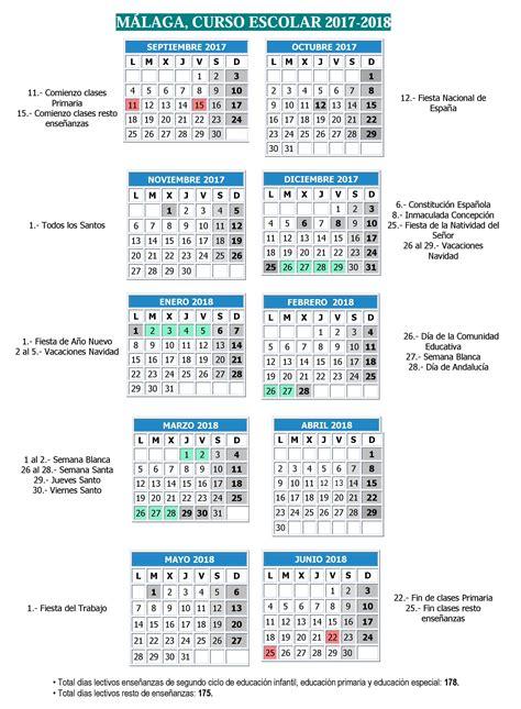 Calendario Vacaciones 2018 Calendario Escolar M 225 Laga 2017 2018 La Diversiva Gu 237 A