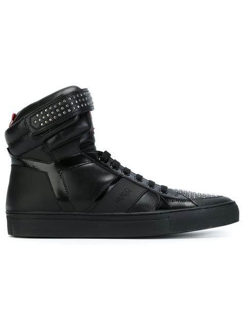 hugo sneaker shoes lyst hugo hi top lace up sneakers in black for