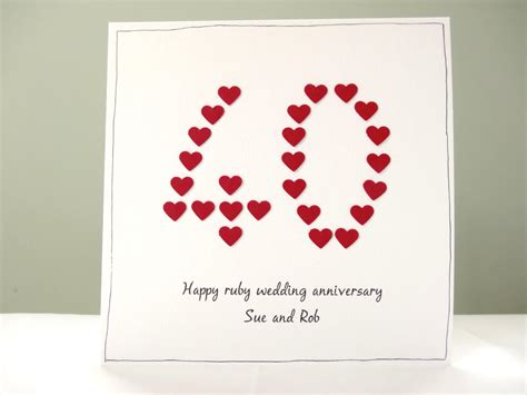 Ruby Wedding Anniversary Wishes For Parents by Ruby Wedding Anniversary Card Personalised Anniversary Cards
