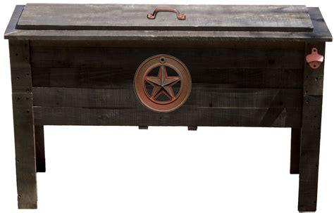 outdoor ventures 87 qt rustic wooden deck cooler star