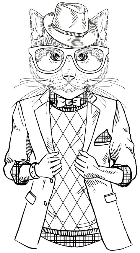 A Cool Cat From Quot Smooth Operator Quot Coloring Therapy Pinterest Smooth Cat And Adult Coloring Cool Coloring Pages For