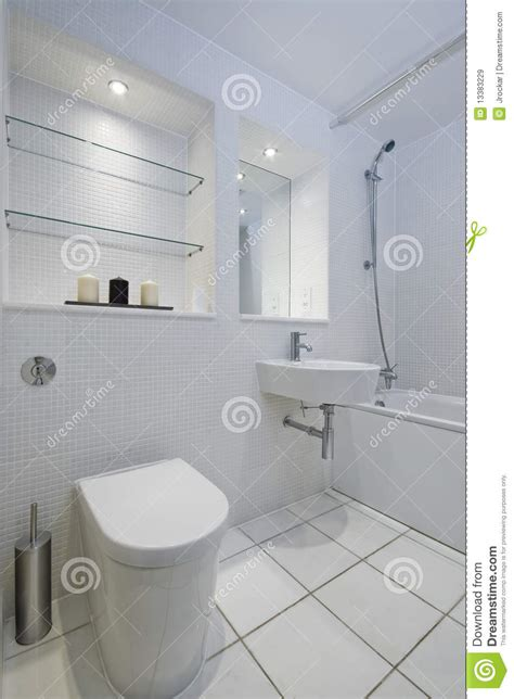 white mosaic bathroom white mosaic tiled bathroom stock image image 13383229