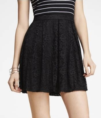 high waist lace fit and flare mini skirt express style