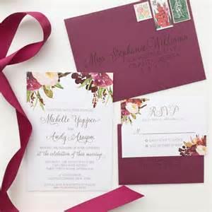 marsala wedding invitation burgundy floral by ohmydesignsbysteph