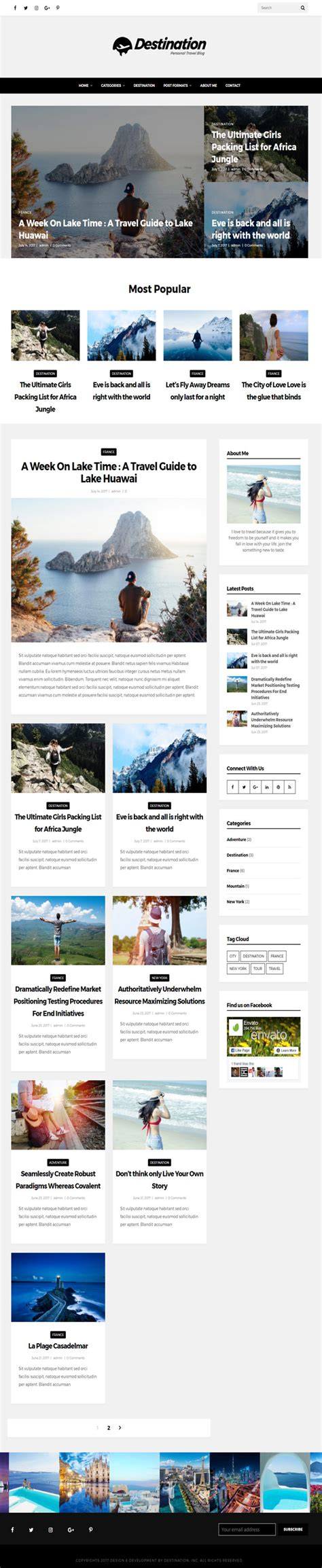 blogger themes with menu destination travel wordpress blog theme by designcrazzy