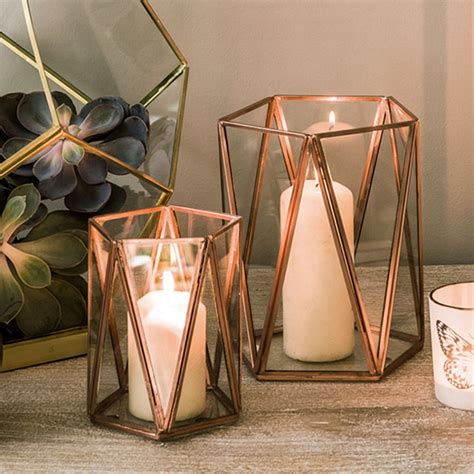 decorative home accessories uk copper triangular tea light holder candles holders