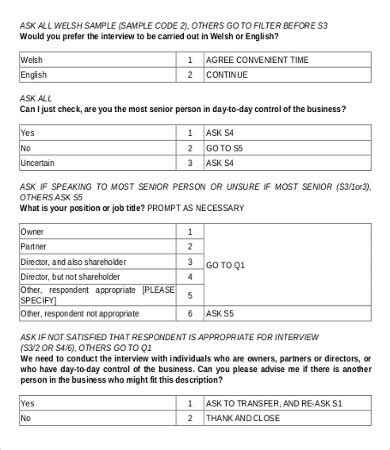 9 Sle Survey Questionnaires Free Sle Exle Format Download Free Premium Templates Company Survey Template