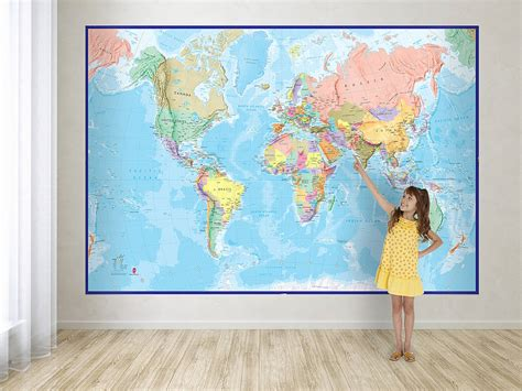 map of the world wall mural world map mural blue by maps international