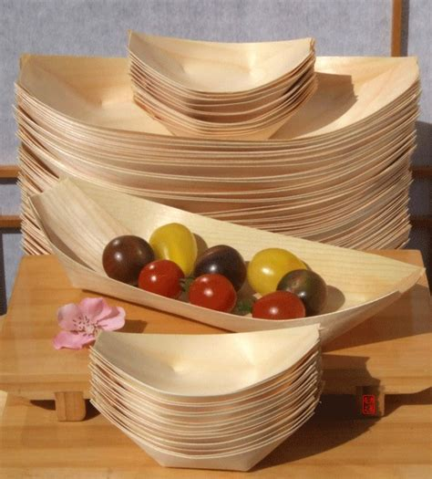 Bamboo Wood Boats large & standard for party foods snacks