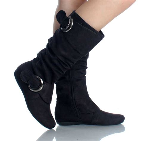 womens black boots black suede buckle slouch equestrian dress flat womens mid