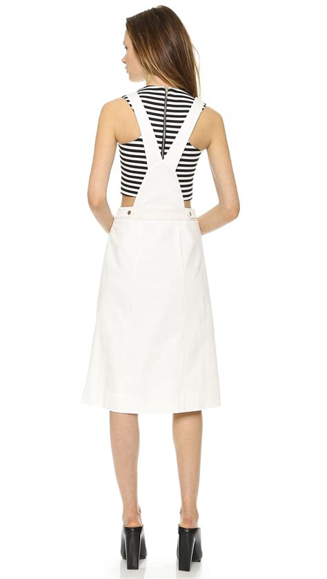 White Overall Dress lyst whistles mixed fabric overall dress white in white