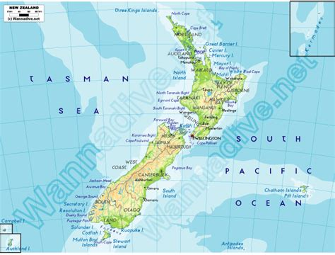 physical map of australia and new zealand new zealand wannadive net world dive site atlas