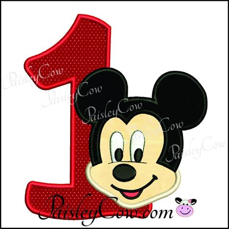 St Mickey Kid 1 mickey mouse 1 one birthday applique paisleycow