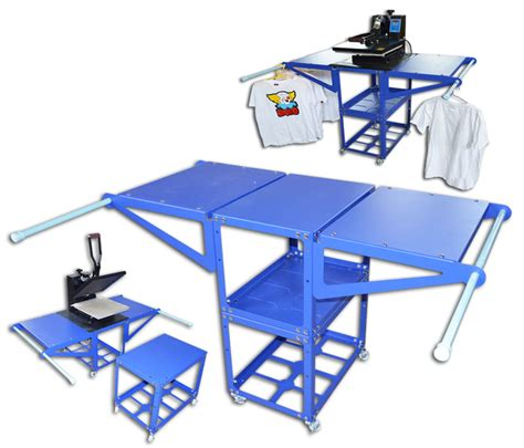 heat press table heat press screen printing rack metatl hang commodity shelf movable work table ebay