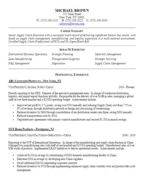 supply chain coordinator resume sle sle vp level supply chain resume for more resume