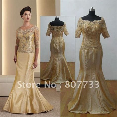 Gold wedding dresses for mature brides   Parents 50th
