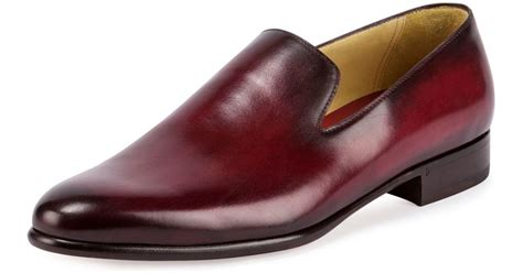 berluti leather slip on dress shoe in for lyst