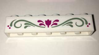 Olive Magenta Flower bricker part lego 3009pb199 brick 1 x 6 with magenta